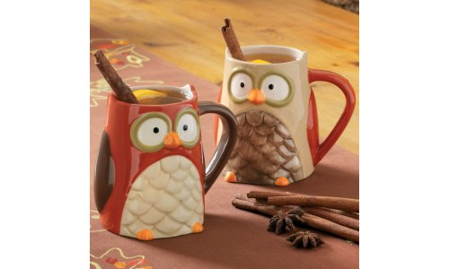 Cute Tag Owl Ceramic Mugs (set of 4)