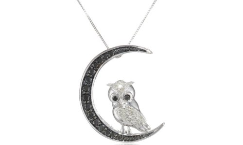 10k White Gold Black and White Diamond Owl Pendant Necklace