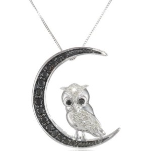 White gold black and white diamond owl pendant necklace 10k white gold black and white diamond owl pendant necklace mozeypictures