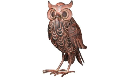 Wise Hoot Owl Tabletop Figurine 7 Inch Metal