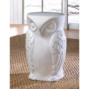 WISE OWL CERAMIC DECORATIVE HOME OR GARDEN STOOL