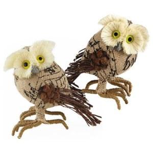 Adorable Burlap Owl Figurines (Set of 2)