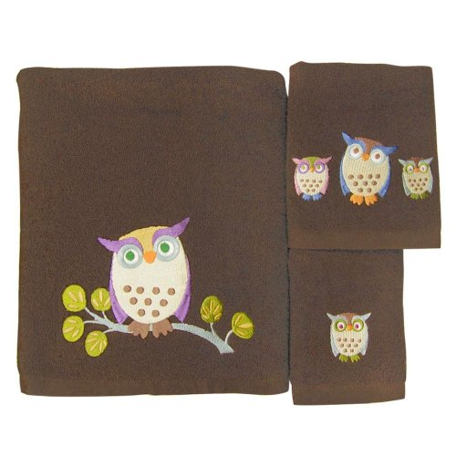 Allure Home Awesome Owls 3-Piece Towel Set Towels