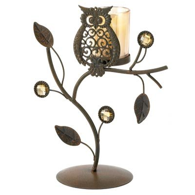Wise Owl Ornamental Vine Candle Holder Stand