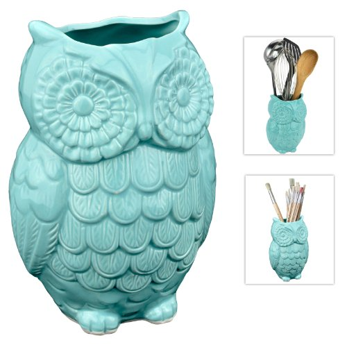 Ceramic Cooking Owl Utensil Holder Multipurpose Crock Aqua Blue
