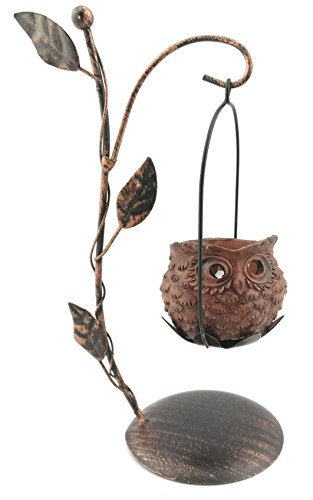 Owl Tea Light Candle Holder With LED Flickering Tea Light