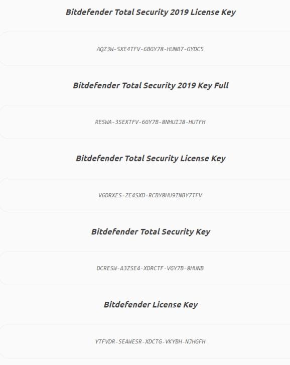 Bitdefender Total Security keys