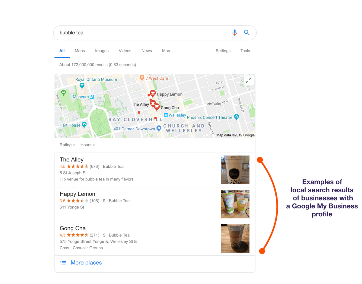 Example of how Google My Business profiles appear in search results