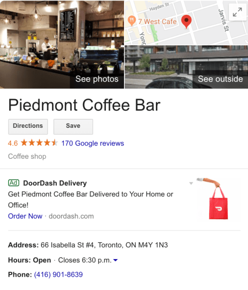 Example of the Google knowledge panel for a coffee shop