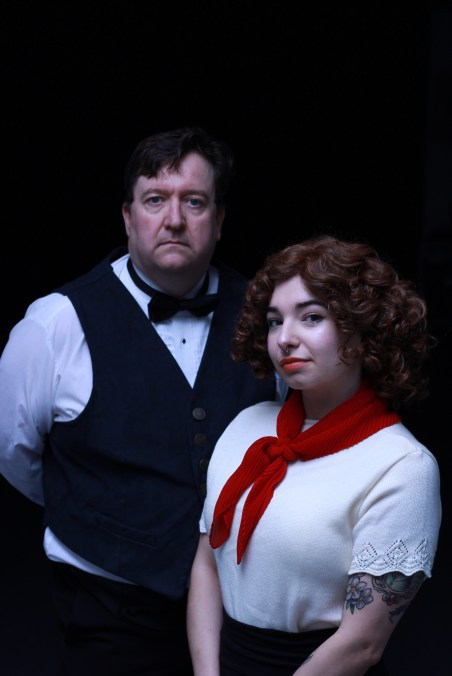 Image of Chris Rudram and Natasha Guerra of Enigmatic Events Collective in theatrical costume.