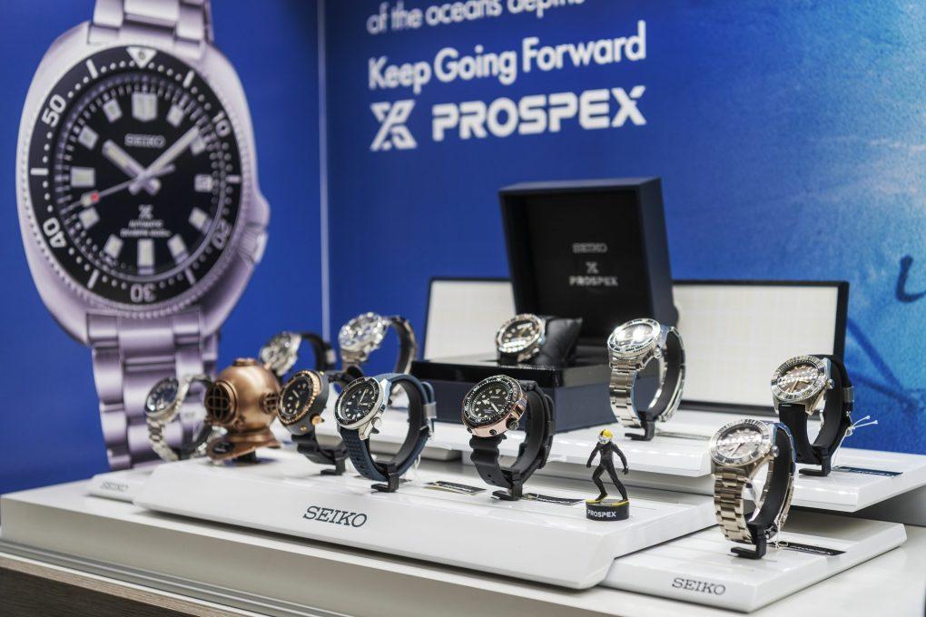 Seiko watches on display