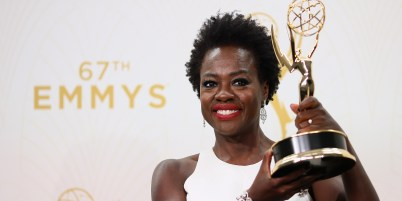 LOS ANGELES, CA - SEPTEMBER 20: Actress Viola Davis, winner of the award for Outstanding Lead Actress in a Drama Series for 'How to Get Away With Murder', poses in the press room at the 67th Annual Primetime Emmy Awards at Microsoft Theater on September 20, 2015 in Los Angeles, California. Mark Davis/Getty Images/AFP