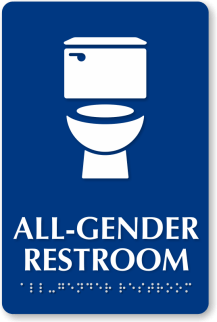 All-gender bathroom signs are on the rise. Image courtesy of mydoorsign.com