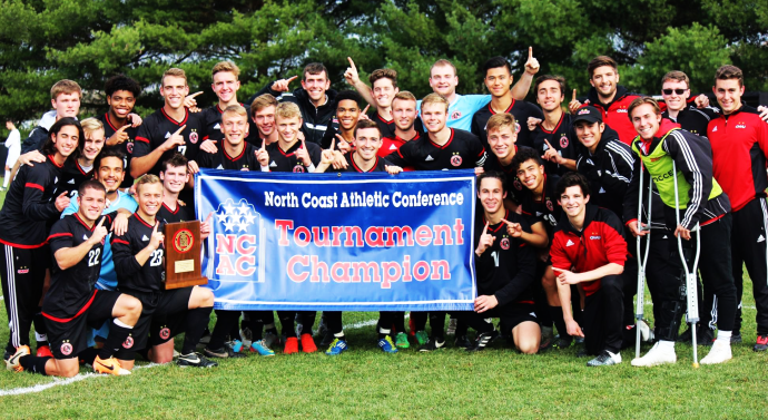 Men's soccer team wins NCAC title in dramatic fashion