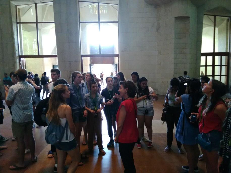 A tour group inside of the Sagrada Familia