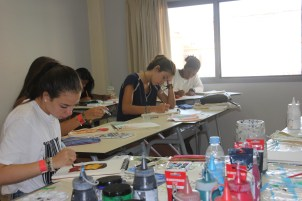 """Studio Art"" students hard at work on final projects."