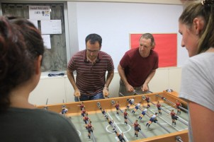 LADEBA Director Jorge Rodríguez and Dean Andrew Brabbée play against students