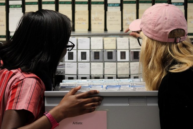 Students are introduced to the Visual Resources Centre's 35mm slide collection © Nathan Stazicker