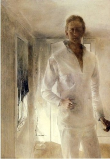 Andrew Wyeth, July 12, 1917. Again the more you look the stranger it is. And like Rowe and Whistler, he's blending in
