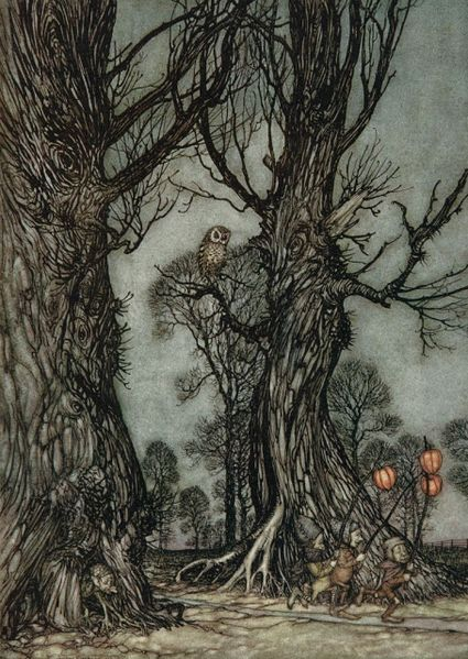 Linkmen running in front carrying winter cherries. Arthur Rackham