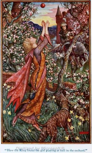 Princess Playing with a Ball from Andrew Lang's Fairy Books. By H J Ford