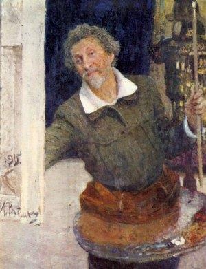 Self-portrait at work, Ilya Repin, born 5 August 1844