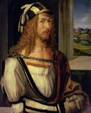 Self-portrait with gloves by Albrecht Durer, born 21 May 1471
