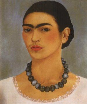 Self-portrait with necklace (1933), Frida Kahlo, born 6 July 1907