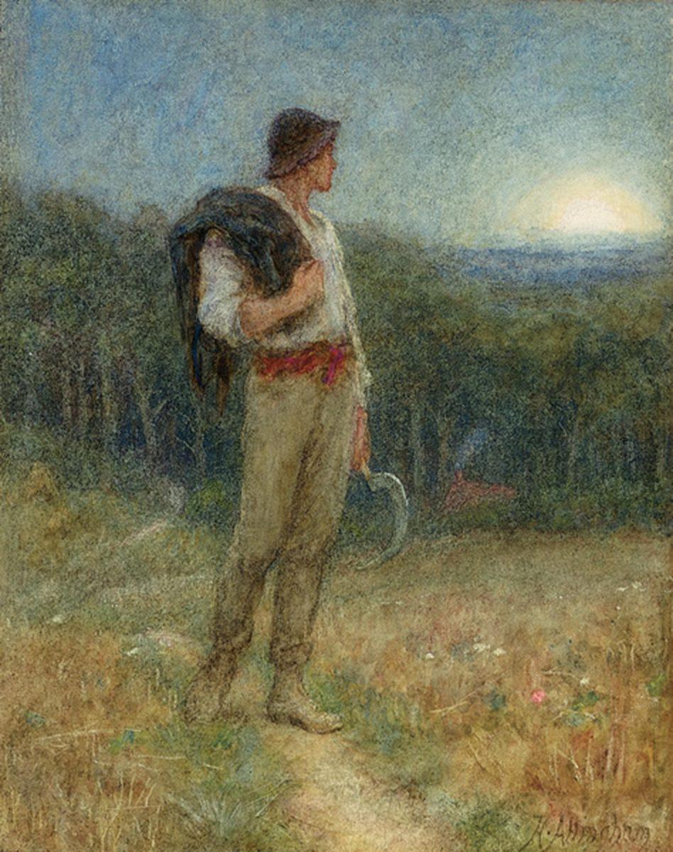 Harvest Moon, 'globed in mellow splendour', 1879 -- Helen Allingham
