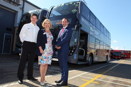 In photo: Glen Pascoe from GKN, June Girvin, Pro-Vice Chancellor of Oxford Brookes and Phil Southall, Operations Director at Oxford Bus Company.