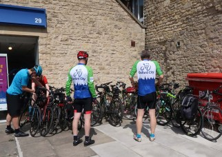 Not what it looks like - actually keeping watch over our bikes while the other 23 find somewhere for coffee