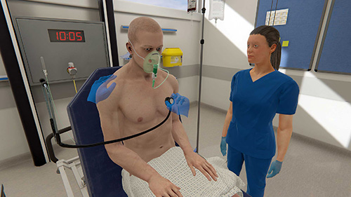 A cardiac exam taking place in virtual reality sim