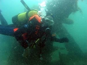 Diver on the Sand Barges (Dredger)