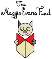 Logo for the Maggie Evans fund - a cat reading a book