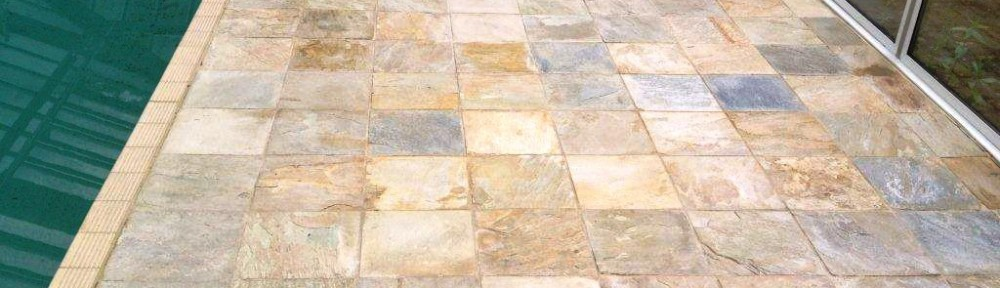 cleaning indian sandstone tiles around