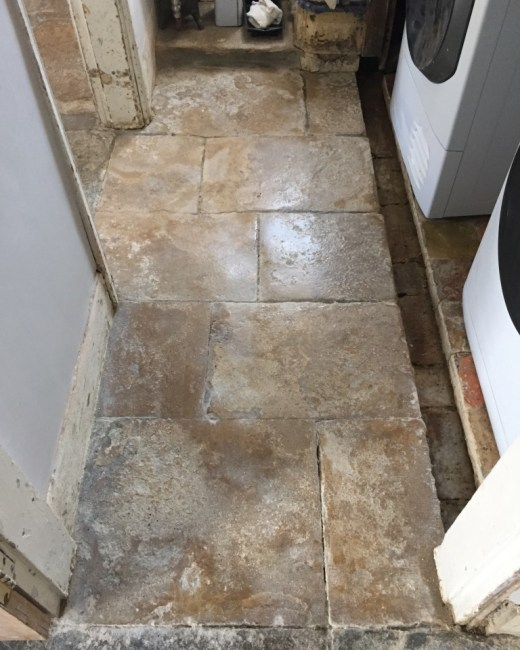 Old Flagstone floor Bicester Before Burnishing