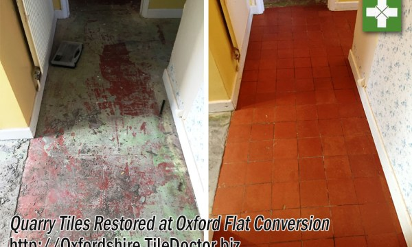 Quarry Tiled Hallway Tiles Before and After Restoration Oxford