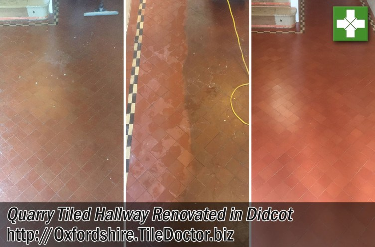 Quarry Tiled Hallway Floor Before After Renovation Didcot
