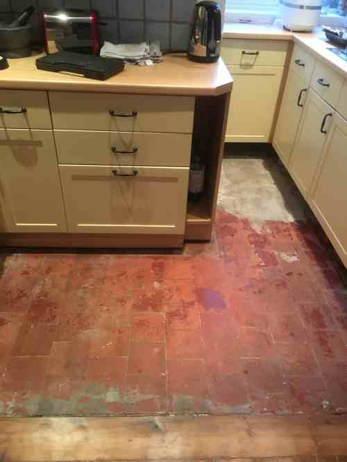 Quarry Tiled Kitchen Floor Before Restoration Old Marston