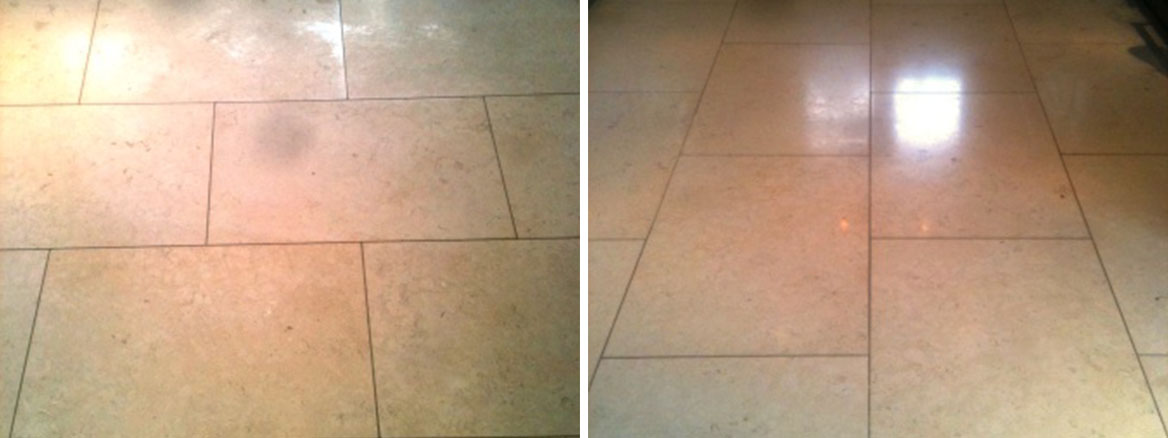 Honed Limestone before after