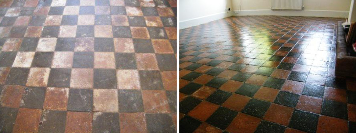 Old farmhouse quarry tiles before after