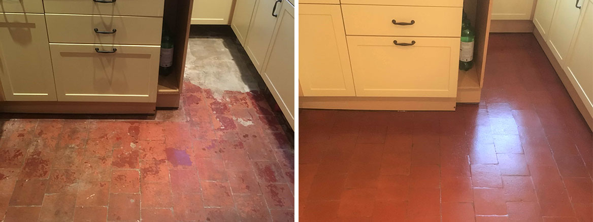 Quarry Tiled Kitchen Floor Before After Restoration Old Marston