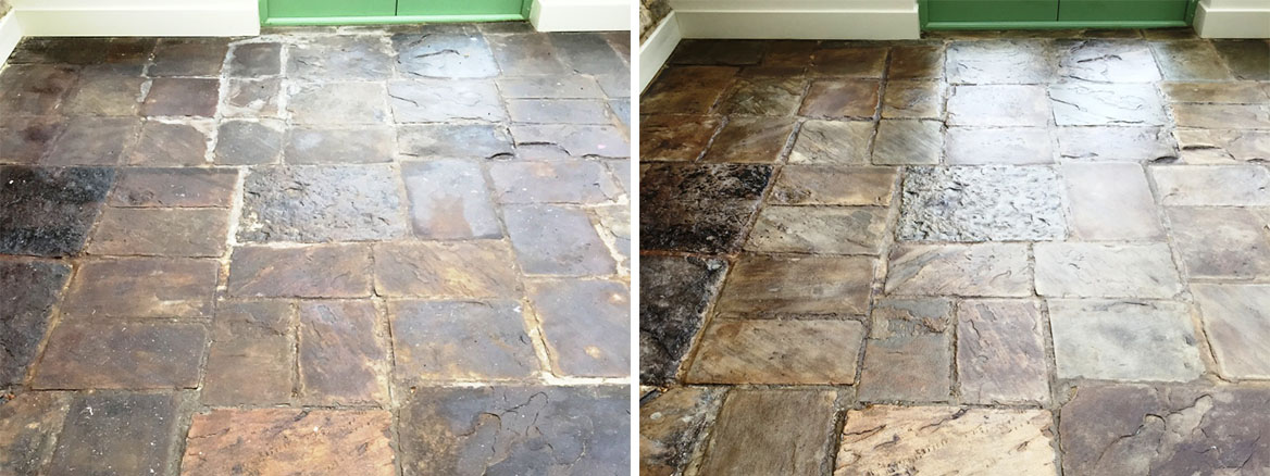 Slate Conservatory Floor Before After Cleaning Bicester
