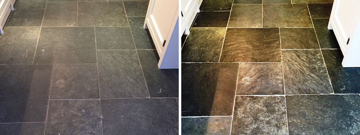 Slate Tiled Floor Before After Cleaning Henley on Thames