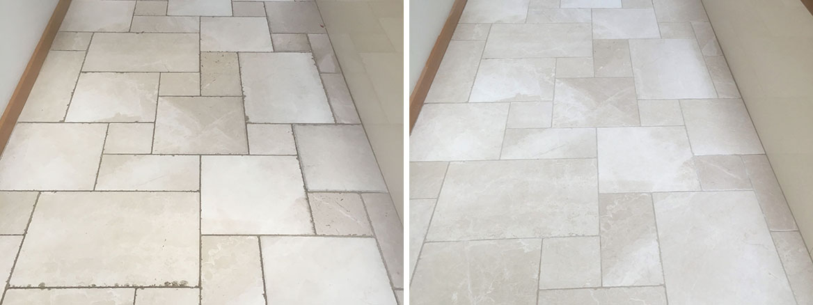 Tumbled Marble Floor Before After Cleaning Oxford