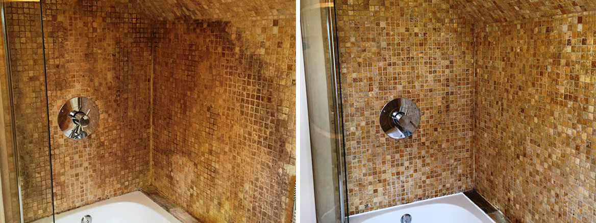 Tumbled marble mosaic bathroom Kidlington Before After