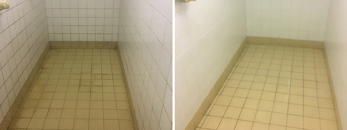 Sports Centre Shower Tiles Deep Cleaned in Banbury