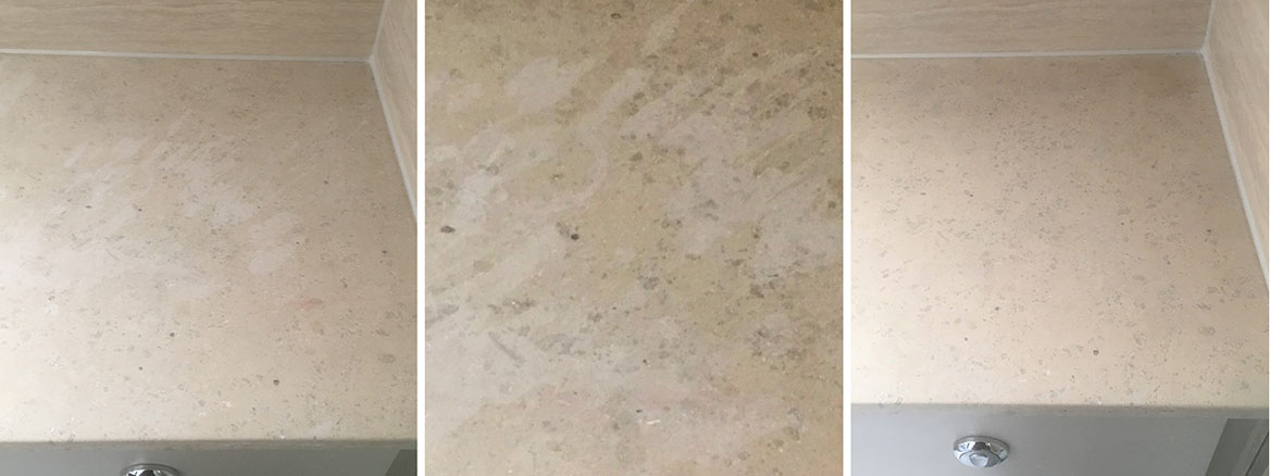 Damaged Marble Countertop Repolished in Oxford