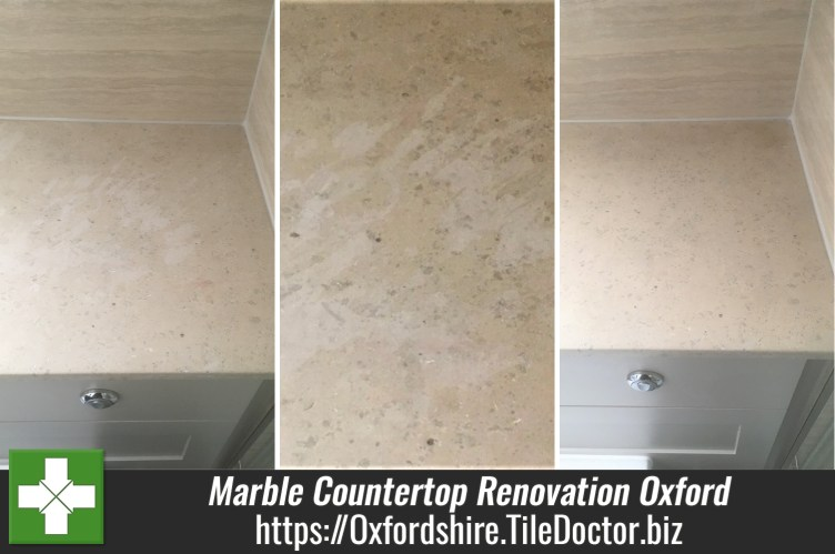 Etched Marble Tiled Countertop Renovation Oxford