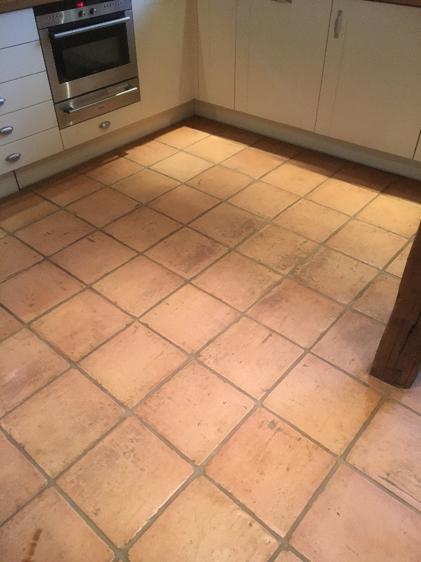 Terracotta Tiled Floor Before Cleaning Abingdon